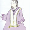 Jesus, priest, cross, Christ, purple, advent, Catholic, mass, St. Louis
